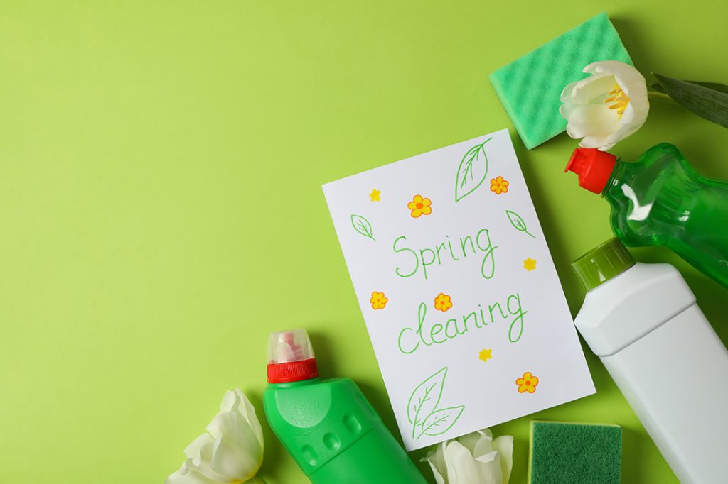 Text Spring cleaning, cleaning tools and tulips on green