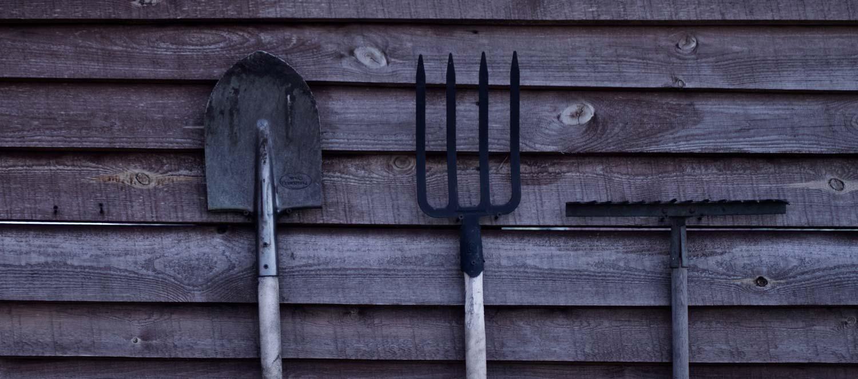 Row of garden tools